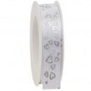 Taffeta ribbon hearts width 25mm, length 20m, with
